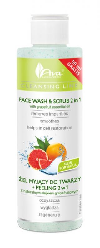 Очищающий гель + скраб 2 в 1 с грейпфрутовым маслом и экстрактом василька АВА Лабораториум Face Wash & Scrub 2 in 1 with grapefruit essential oil & cornflower extract AVA Laboratorium