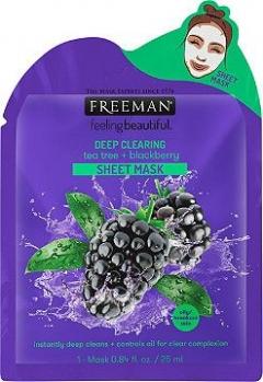 Тканевая маска глубоко очищающая Чайное дерево и Ежевика Фриман Deep Clearing Tea Tree + Blackberry Sheet Mask Freeman