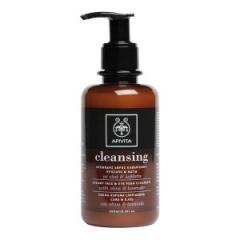 Пенка для очищения лица и глаз с оливой и лавандой Апивита Face & Eye Olive and Lavender Foaming Cleanser Apivita