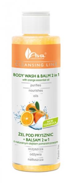 Очищающий гель + бальзам, 2 в 1 с апельсиновым маслом для тела АВА Лабораториум Body Wash & Balm 2 in 1 with orange essential oil AVA Laboratorium