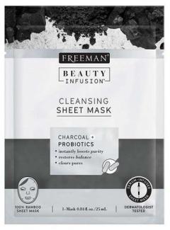 Тканевая маска очищающая Уголь и Пробиотики Фриман Beauty Infusion Cleansing Sheet Mask Charcoal + Probiotics Freeman