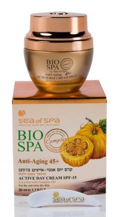 Антивозрастной дневной крем с тыквенным маслом Си Оф Спа Anti Aging Day Cream Enriched with Dead Sea Minerals & Pumpkin Oil, SPF-15 Sea Of Spa