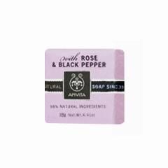 Натуральное мыло с розой и черным перцем Апивита Soap with Rose and Black pepper Apivita