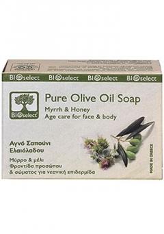 Натуральное мыло с миррой и медом БиоСелект Soap organic for antiage care for face & body BIOSelect