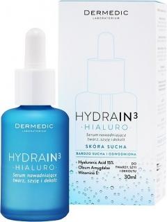Сыворотка увлажняющая для лица, шеи и декольте Дермедик Hydrain 3 Hialuro Hydrating Serum Dermedic